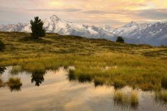 Evening mood in autumn view to Ahornspitze upland moor in the Zillertal valley Stock Photos