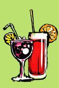 Illustration of fresh cocktails against green background Stock Illustration