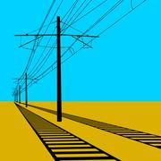 Railroad overhead lines. Contact wire. Vector illustration. Stock Illustration