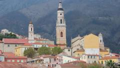 Beautiful View of the old Menton Stock Footage