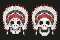 Human skulls with indian chief hat - stock illustration