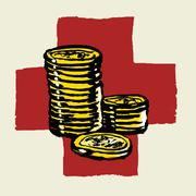 Illustration of stacked coins against International Red Cross Stock Illustration
