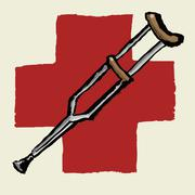 Illustrative image of crutch against International Red Cross - stock illustration