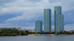 Grand Alatau residential complex in Astana near Yesil river Stock Footage