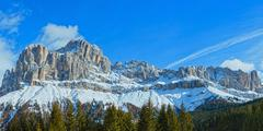 Winter rocky mountain panorama (Great Dolomites Road). - stock photo