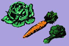 Illustrative image of vegetables arranged on purple background Stock Illustration