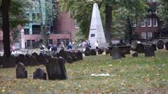 Boston granary burying ground cemetery tremont street Stock Footage