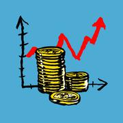 Illustration of stacked coins with upward moving graph against blue background Stock Illustration