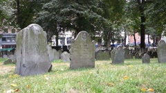 Boston granary burying ground oldest cemetery tremont st Stock Footage