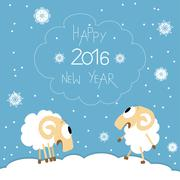 New Year card with cute funny screaming sheep - stock illustration
