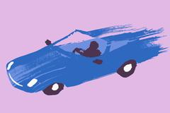 Illustrative image of person driving blue sports car against purple background Stock Illustration