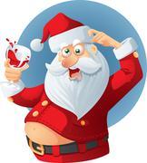 Drunk Santa Claus Vector Cartoon - stock illustration