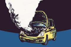 Illustration of smoke coming out from car engine against black background Stock Illustration