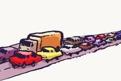 Illustration of cars in traffic jam against white background Stock Illustration