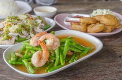 Stir Fried Asparagus with Shrimp - stock photo