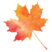 Stock Illustration of Maple leaf. Autumn fall. Dotwork illustration.
