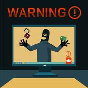 hackers attacked computer - stock illustration