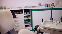 Empty dental office, clinic interior, equipment, chair - stock footage