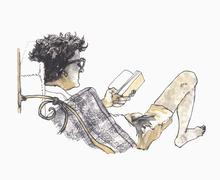 Illustrative image of man reading book against white background Stock Illustration