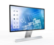 3D design software on computer screen Stock Illustration