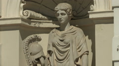 Statue of Athena holding a helmet, at the University of Warsaw Stock Footage