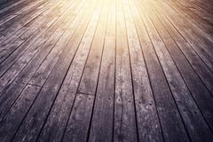 Stock Photo of Rustic Wooden Floor Board in Perspective