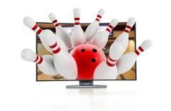 3D television with bowling pins - stock illustration