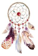 Watercolor dreamcatcher with beads and feathers. Illustration fo Stock Illustration