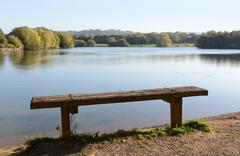 Rustic bench by a lake - stock photo