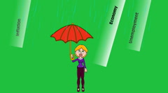 Umbrella in Economic Storm:  Looping + Matte - stock footage