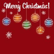 Christmas card unique balls on a red background Stock Illustration