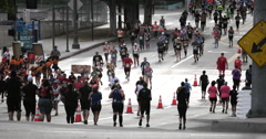Runners participate in half marathon in Los Angeles Long Stock Footage