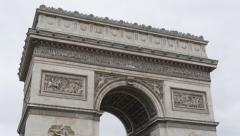 Symbol of Paris and France  Arc de Triomphe  by the day 4K 2160p UltraHD tilt - stock footage