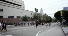 Runners participate in half marathon Los Angeles; Pan City Hall to Concert Hall Stock Footage