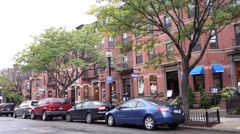 Boston newbury street red brick buildings Stock Footage