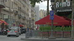 Stock Video Footage of Cafe di Roma on Champs-Elysees boulevard, Paris