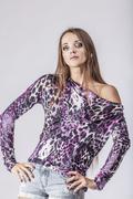 Fashion model beautiful woman Studio photography - stock photo