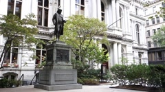 Boston old city hall statue Stock Footage