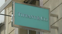 Stock Video Footage of Tiffany & Co. store sign on Avenue des Champs-Elysees, Paris