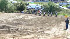 Starting motocross riders Stock Footage