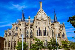 Astorga Leon Palacio Episcopal of Antoni Gaudi Stock Photos