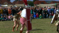 Gladiator Thraex in a Roman festival in Biriciana Fort area in Weissenburg Stock Footage