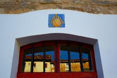 The Way of Saint James signs in Belorado Castilla - stock photo