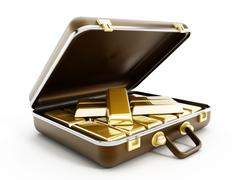 Gold ingots in briefcase Stock Illustration