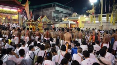 Temple ceremony in Phuket Town during Vegetarian festival celebration. - stock footage