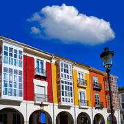 Burgos Street Santander arcades in Castilla Leon of Spain Stock Photos
