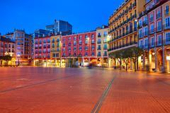 Burgos Plaza Mayor square at sunset in Spain Stock Photos