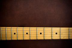 Electric guitar neck  horizontal detail - stock photo