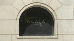 Alaia logo on Rue de Marignan, Paris Stock Footage