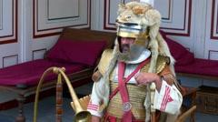 Roman legionnaires on a Roman festival, Biriciana, fort area, Weissenburg Stock Footage